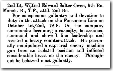 MC Citation for 2nd Lt. W. Owen