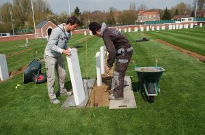 Placing a Gravestone at Fromelles War Cemetery
