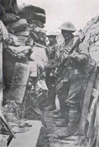 Men of the 53rd Battalion, AIF waiting to 'go over the top' at Fromelles 19 July 1916 (Courtesy AWM).