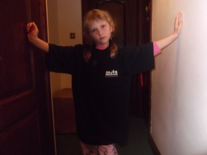 Black t-shirt modelled by my daughter Lenka